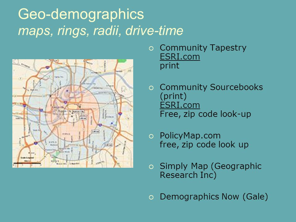 BRASS 20th Anniversary Geo-demographics maps, rings, radii, drive-time  Community Tapestry ESRI.com print ESRI.com  Community Sourcebooks (print) ES