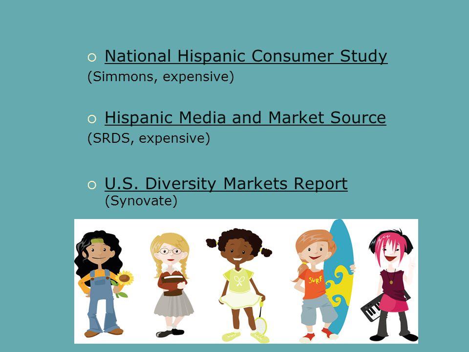  National Hispanic Consumer Study National Hispanic Consumer Study (Simmons, expensive)  Hispanic Media and Market Source Hispanic Media and Market Source (SRDS, expensive)  U.S.