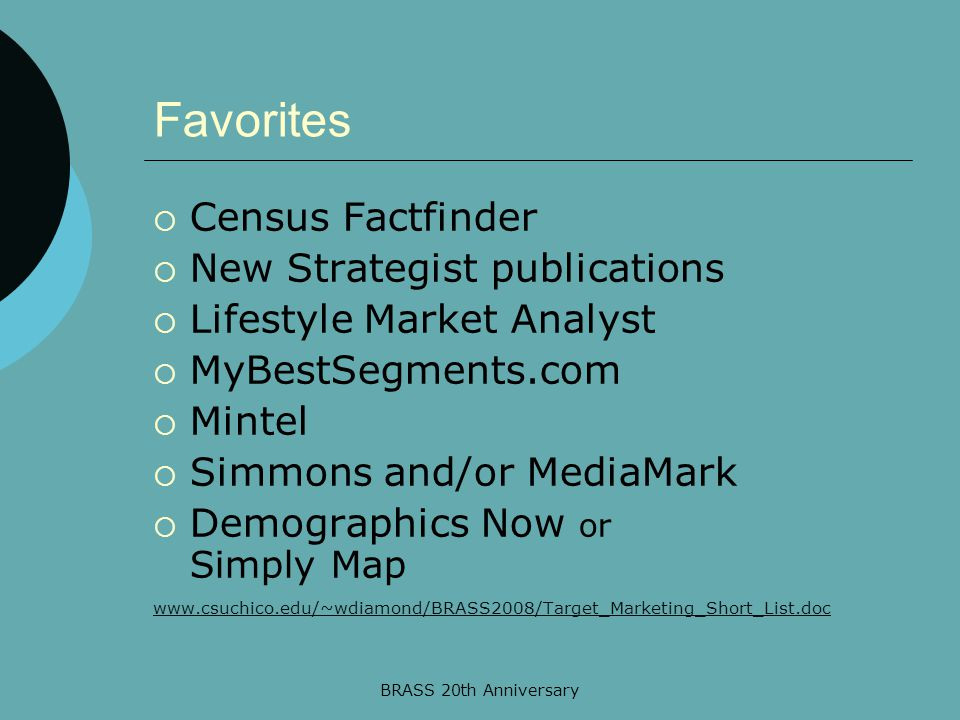 BRASS 20th Anniversary Favorites  Census Factfinder  New Strategist publications  Lifestyle Market Analyst  MyBestSegments.com  Mintel  Simmons
