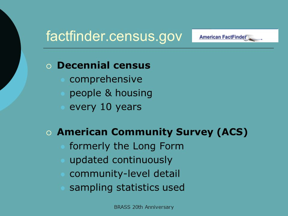 BRASS 20th Anniversary factfinder.census.gov  Decennial census comprehensive people & housing every 10 years  American Community Survey (ACS) formerly the Long Form updated continuously community-level detail sampling statistics used