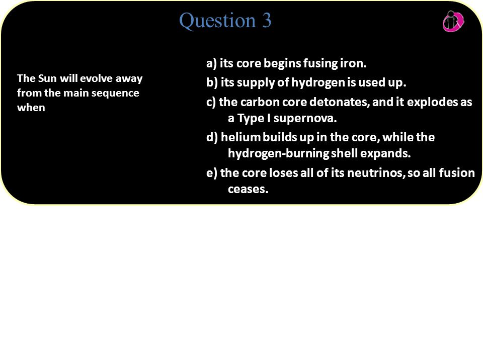 a) its core begins fusing iron.b) its supply of hydrogen is used up.