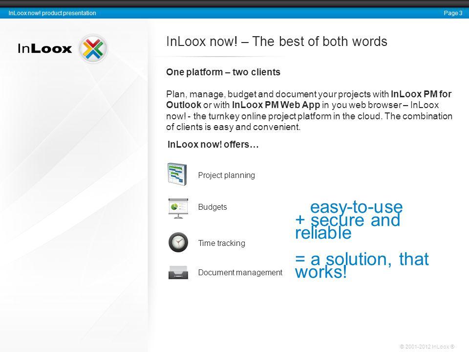 Page 3 InLoox now. product presentation © 2001-2012 InLoox ® InLoox now.