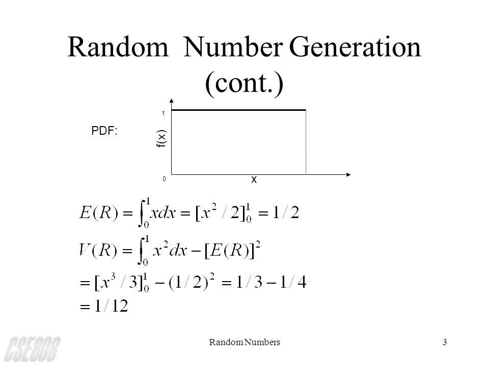 Random Numbers3 Random Number Generation (cont.) x f(x) 0 1 PDF: