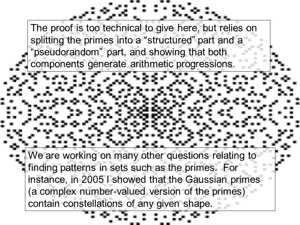The proof is too technical to give here, but relies on splitting the primes into a structured part and a pseudorandom part, and showing that both components generate arithmetic progressions.