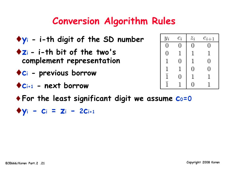 Copyright 2008 Koren ECE666/Koren Part.2.21 Conversion Algorithm Rules  y i - i-th digit of the SD number  z i - i-th bit of the two s complement representation  c i - previous borrow  c i +1 - next borrow  For the least significant digit we assume c 0 = 0  y i - c i = z i - 2 c i +1