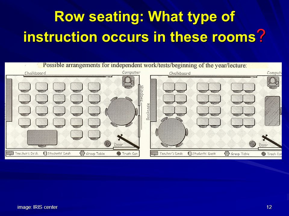 image: IRIS center12 Row seating: What type of instruction occurs in these rooms