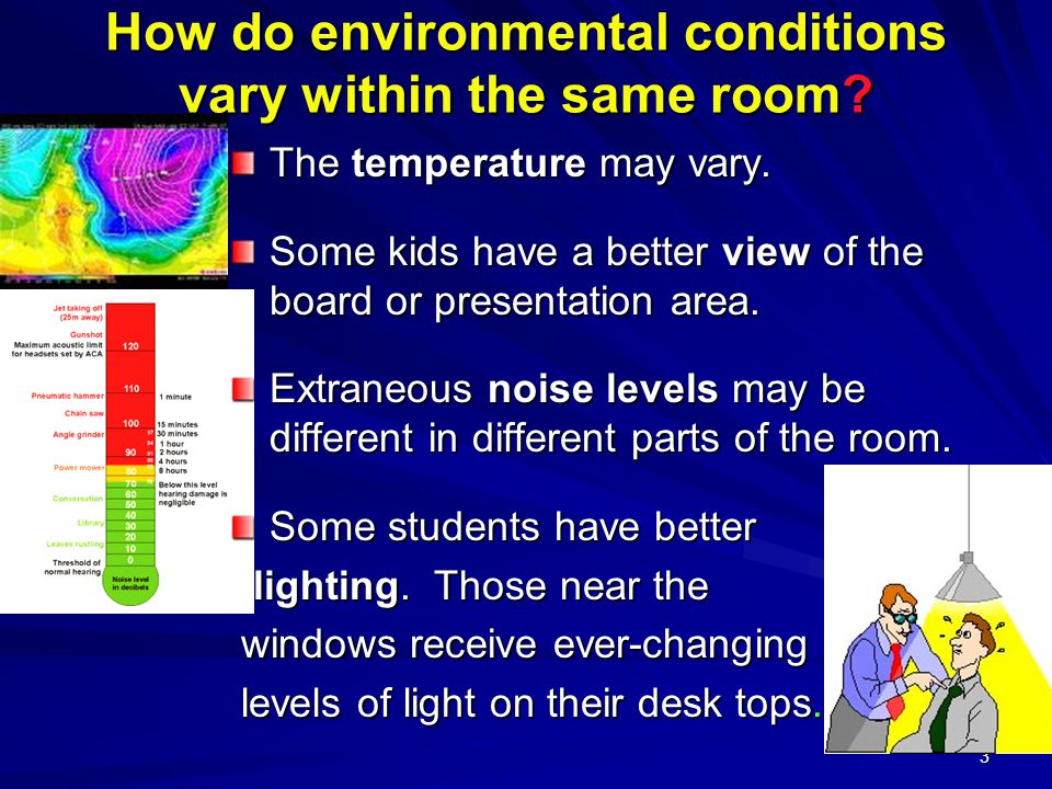 3 How do environmental conditions vary within the same room.