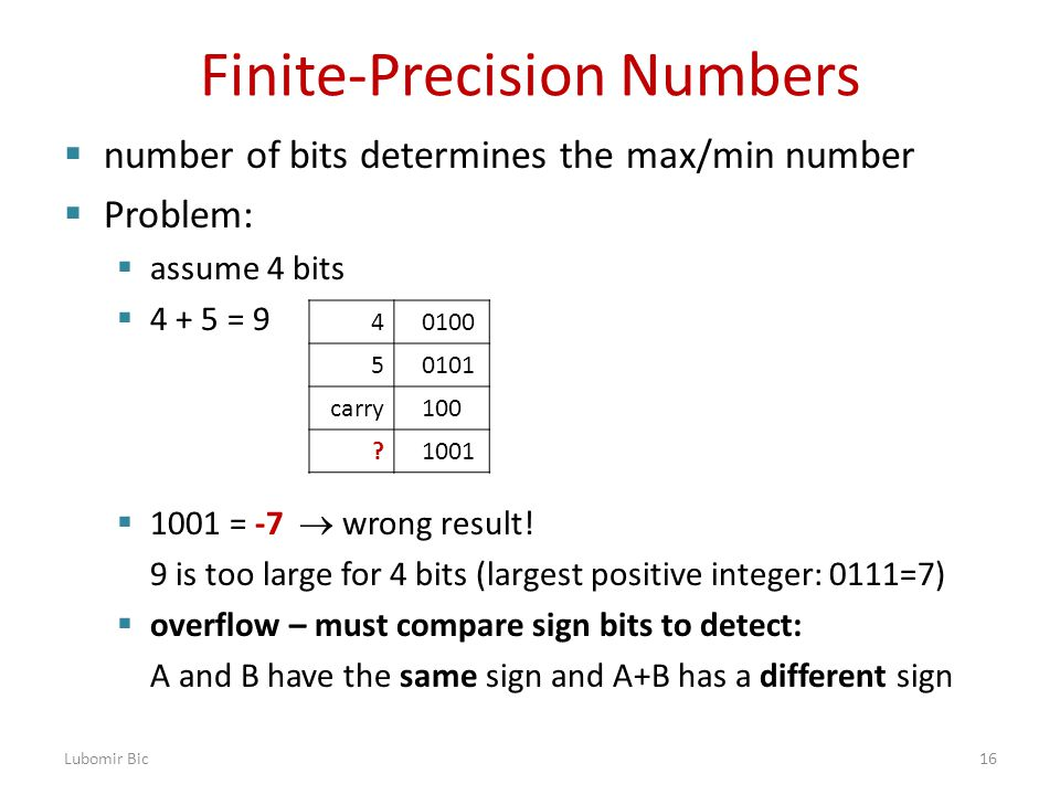 Finite-Precision Numbers  number of bits determines the max/min number  Problem:  assume 4 bits  4 + 5 = 9  1001 = -7  wrong result.