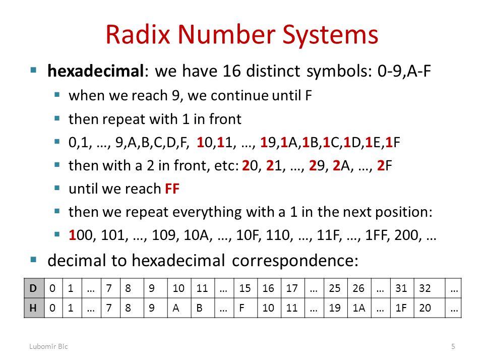 Radix Number Systems  hexadecimal: we have 16 distinct symbols: 0-9,A-F  when we reach 9, we continue until F  then repeat with 1 in front  0,1, …, 9,A,B,C,D,F, 10,11, …, 19,1A,1B,1C,1D,1E,1F  then with a 2 in front, etc: 20, 21, …, 29, 2A, …, 2F  until we reach FF  then we repeat everything with a 1 in the next position:  100, 101, …, 109, 10A, …, 10F, 110, …, 11F, …, 1FF, 200, …  decimal to hexadecimal correspondence: Lubomir Bic5 D01…7891011…151617…2526…3132… H01…789AB…F1011…191A…1F20…