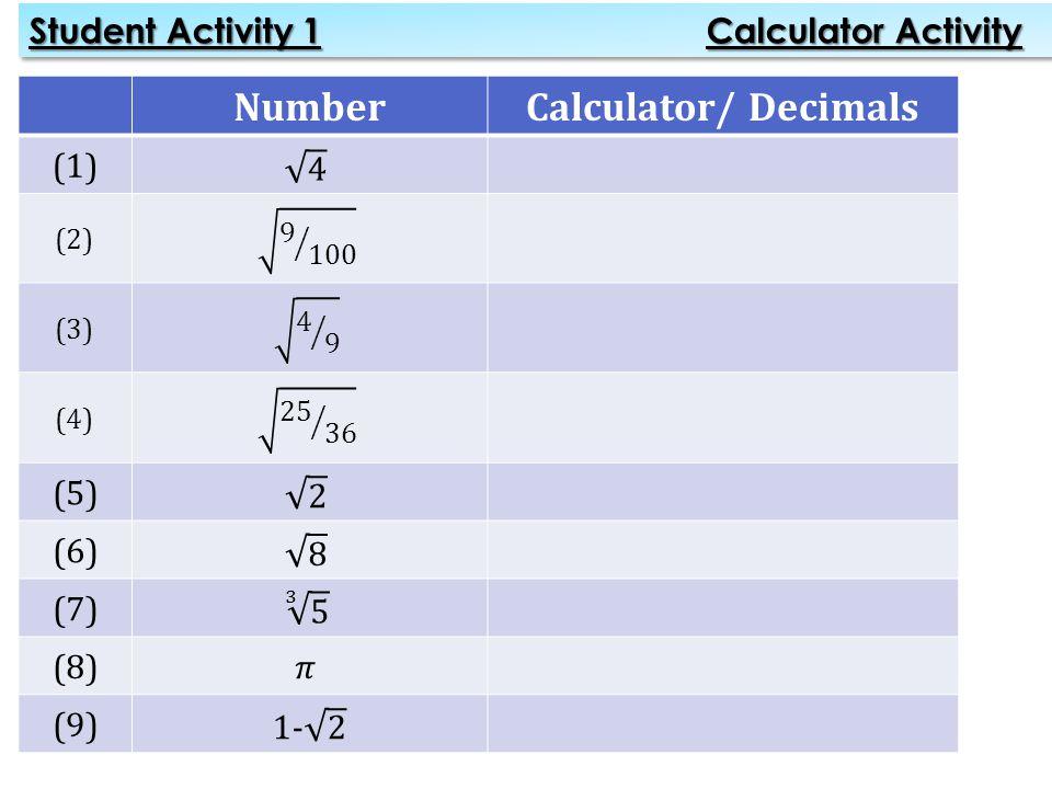 NumberCalculator/ Decimals (1) (2) (3) (4) (5) (6) (7) (8) (9) Student Activity 1 Calculator Activity
