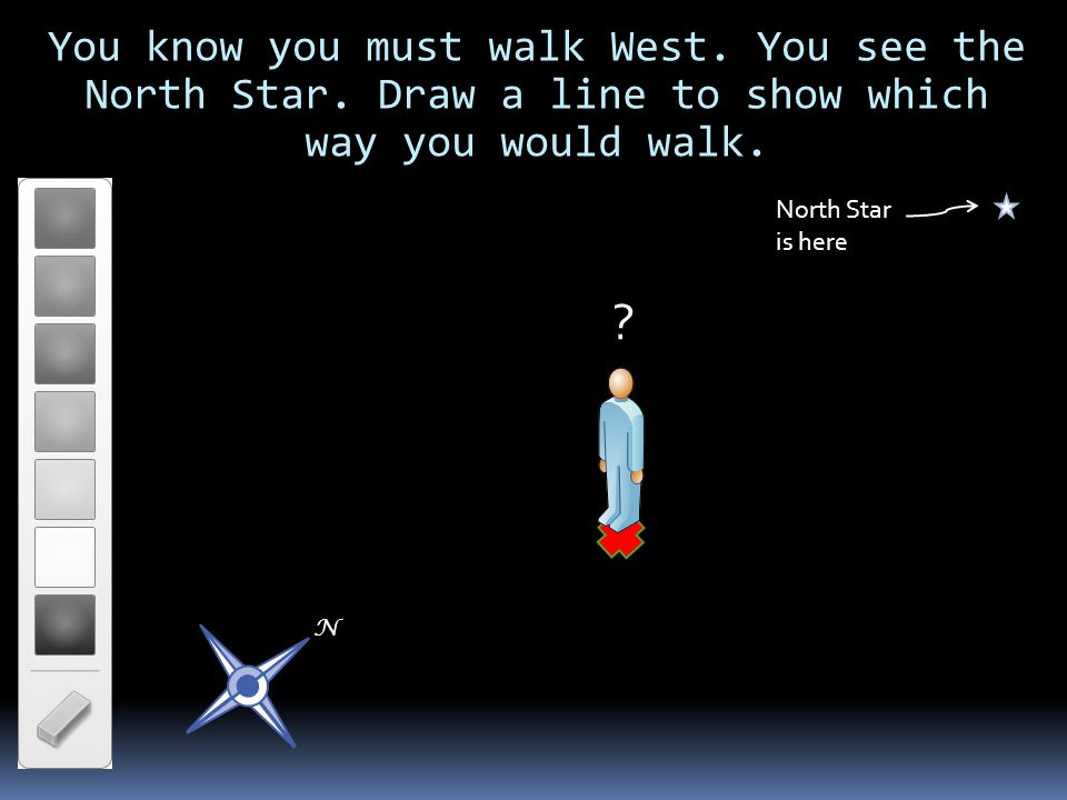 You know you must walk West. You see the North Star. Draw a line to show which way you would walk. North Star is here N ?