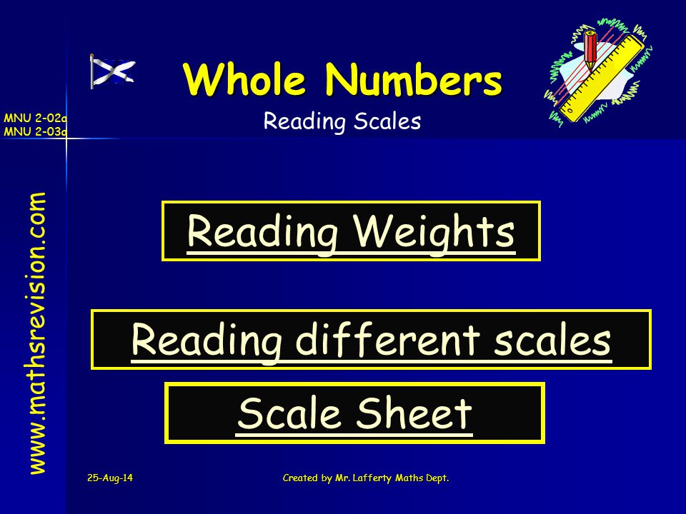 25-Aug-14Created by Mr. Lafferty Maths Dept. www.mathsrevision.com Whole Numbers Reading Weights MNU 2-02a MNU 2-03a Reading Scales Reading different