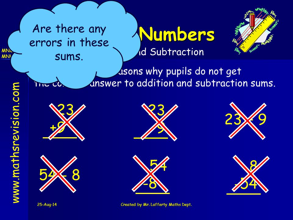 25-Aug-14Created by Mr. Lafferty Maths Dept. www.mathsrevision.com Whole Numbers MNU 2-02a MNU 2-03a Addition and Subtraction There are many reasons w