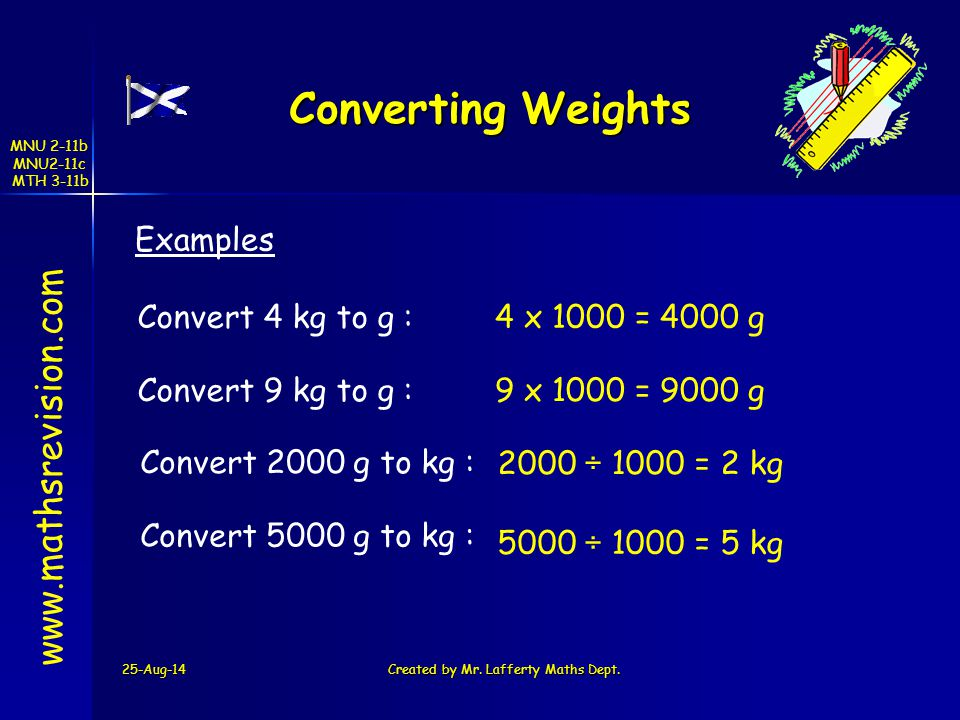 MNU 2-11b MNU2-11c MTH 3-11b 25-Aug-14Created by Mr. Lafferty Maths Dept. Converting Weights www.mathsrevision.com Examples Convert 4 kg to g : 4 x 10