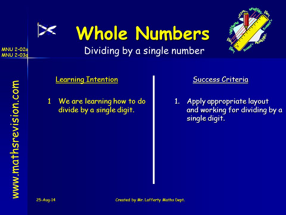 25-Aug-14Created by Mr. Lafferty Maths Dept. www.mathsrevision.com Learning Intention Success Criteria 1 We are learning how to do divide by a single