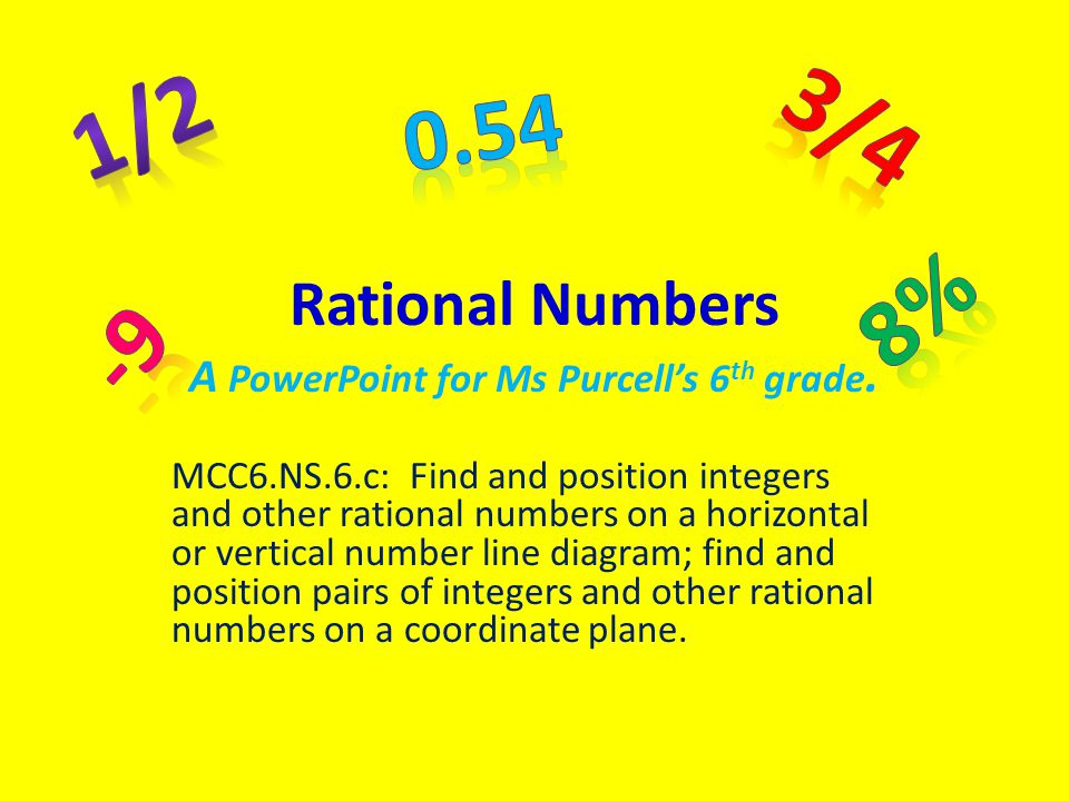 Rational Numbers A PowerPoint for Ms Purcell's 6 th grade. MCC6.NS.6.c: Find and position integers and other rational numbers on a horizontal or verti