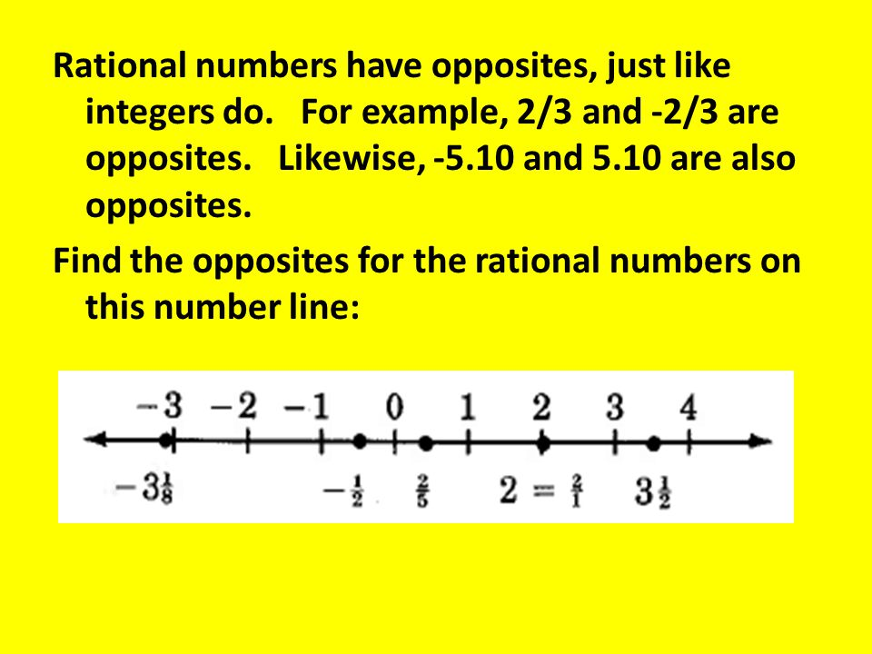 Rational numbers have opposites, just like integers do. For example, 2/3 and -2/3 are opposites. Likewise, -5.10 and 5.10 are also opposites. Find the