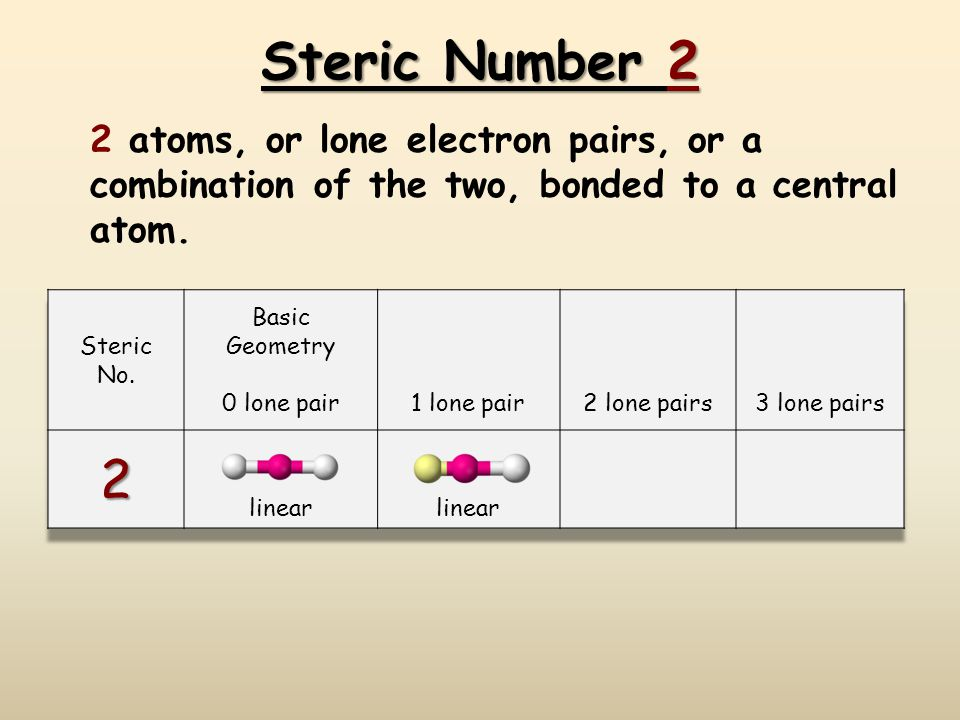 Steric Number 2 2 atoms, or lone electron pairs, or a combination of the two, bonded to a central atom.