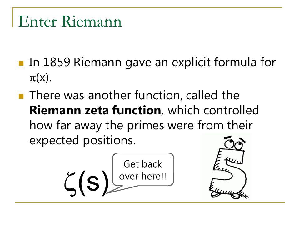 Enter Riemann In 1859 Riemann gave an explicit formula for  (x).