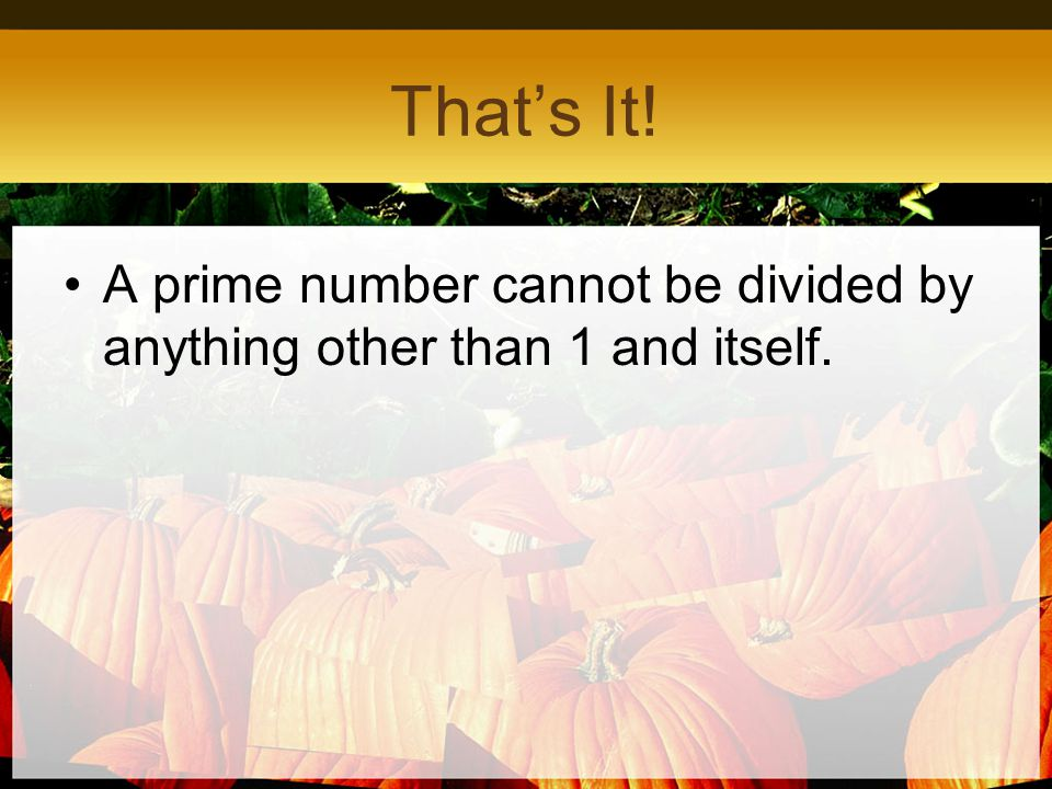 That's It! A prime number cannot be divided by anything other than 1 and itself.