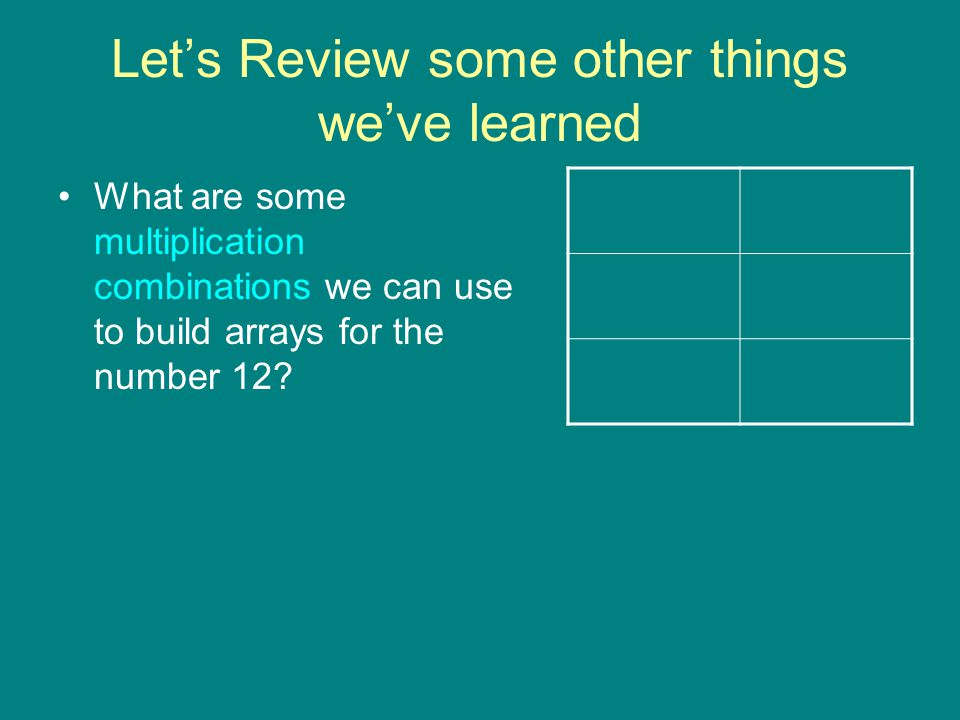 Let's Review some other things we've learned What are some multiplication combinations we can use to build arrays for the number 12?