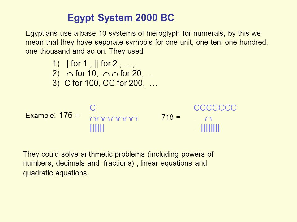 Egypt System 2000 BC Egyptians use a base 10 systems of hieroglyph for numerals, by this we mean that they have separate symbols for one unit, one ten