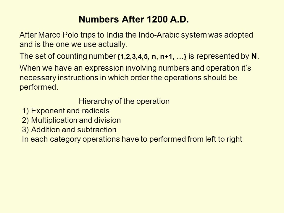 Numbers After 1200 A.D.