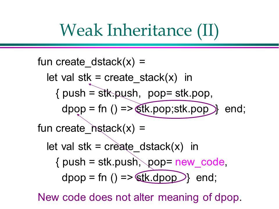 Weak Inheritance (II) fun create_dstack(x) = let val stk = create_stack(x) in { push = stk.push, pop= stk.pop, dpop = fn () => stk.pop;stk.pop } end; fun create_nstack(x) = let val stk = create_dstack(x) in { push = stk.push, pop= new_code, dpop = fn () => stk.dpop } end; New code does not alter meaning of dpop.