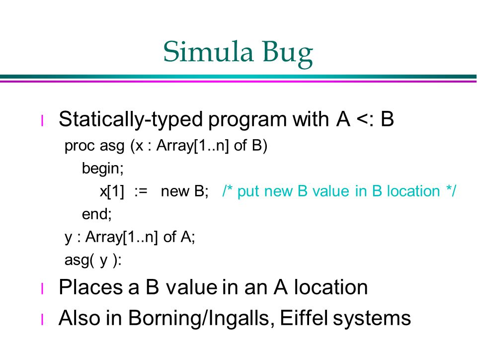 Simula Bug l Statically-typed program with A <: B proc asg (x : Array[1..n] of B) begin; x[1] := new B; /* put new B value in B location */ end; y : Array[1..n] of A; asg( y ): l Places a B value in an A location l Also in Borning/Ingalls, Eiffel systems