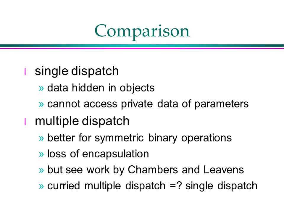 Comparison l single dispatch »data hidden in objects »cannot access private data of parameters l multiple dispatch »better for symmetric binary operations »loss of encapsulation »but see work by Chambers and Leavens »curried multiple dispatch =.