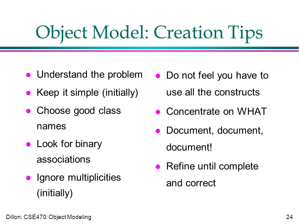 Dillon: CSE470: Object Modeling24 Object Model: Creation Tips l Understand the problem l Keep it simple (initially) l Choose good class names l Look for binary associations l Ignore multiplicities (initially) l Do not feel you have to use all the constructs l Concentrate on WHAT l Document, document, document.