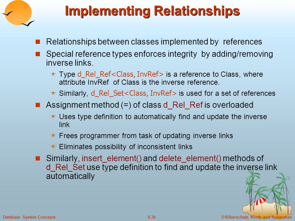 ©Silberschatz, Korth and Sudarshan8.30Database System Concepts Implementing Relationships Relationships between classes implemented by references Spec