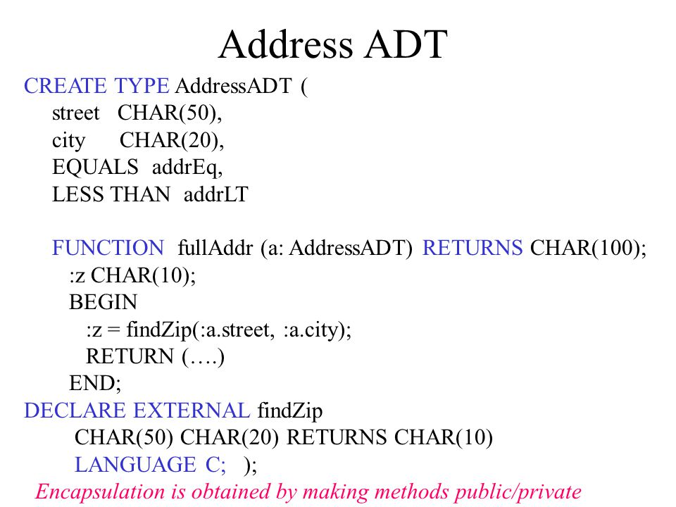 Address ADT CREATE TYPE AddressADT ( street CHAR(50), city CHAR(20), EQUALS addrEq, LESS THAN addrLT FUNCTION fullAddr (a: AddressADT) RETURNS CHAR(100); :z CHAR(10); BEGIN :z = findZip(:a.street, :a.city); RETURN (….) END; DECLARE EXTERNAL findZip CHAR(50) CHAR(20) RETURNS CHAR(10) LANGUAGE C; ); Encapsulation is obtained by making methods public/private