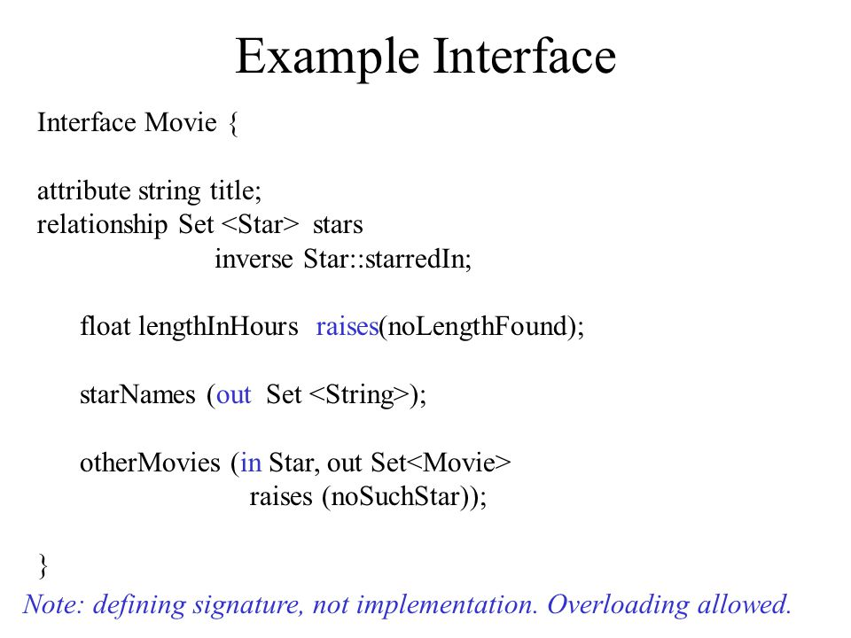 Example Interface Interface Movie { attribute string title; relationship Set stars inverse Star::starredIn; float lengthInHours raises(noLengthFound); starNames (out Set ); otherMovies (in Star, out Set raises (noSuchStar)); } Note: defining signature, not implementation.