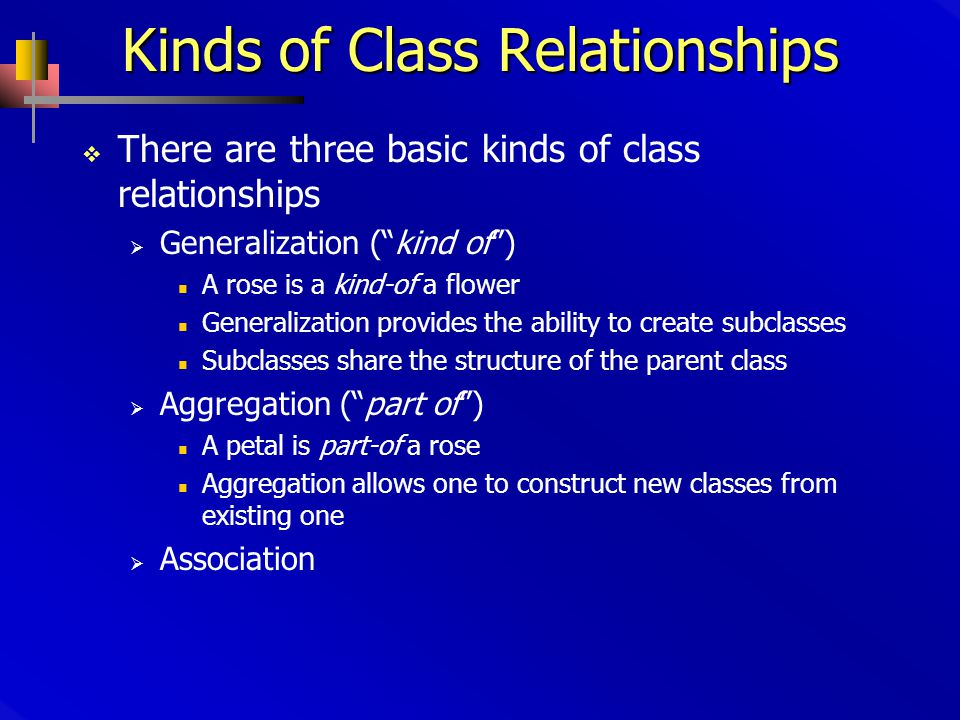 Kinds of Class Relationships  There are three basic kinds of class relationships  Generalization ( kind of ) A rose is a kind-of a flower Generalization provides the ability to create subclasses Subclasses share the structure of the parent class  Aggregation ( part of ) A petal is part-of a rose Aggregation allows one to construct new classes from existing one  Association