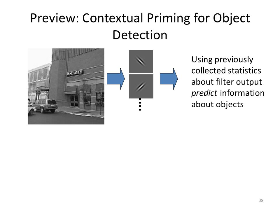 38 Preview: Contextual Priming for Object Detection Using previously collected statistics about filter output predict information about objects