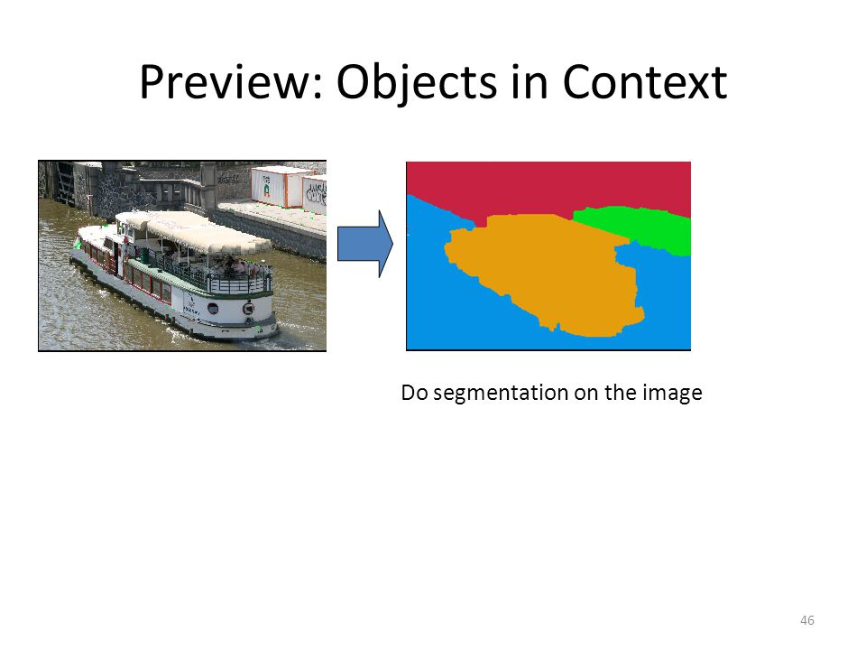 46 Preview: Objects in Context Do segmentation on the image