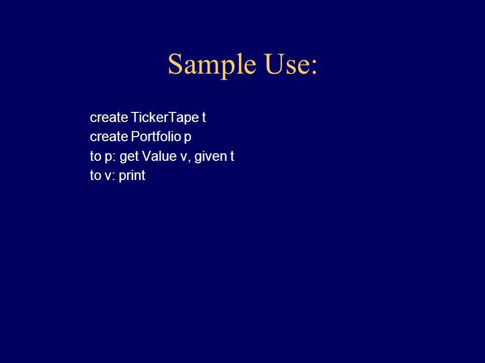 Interface of Portfolio: class Portfolio { Portfolio create() Value getValue(TickerTape t) }