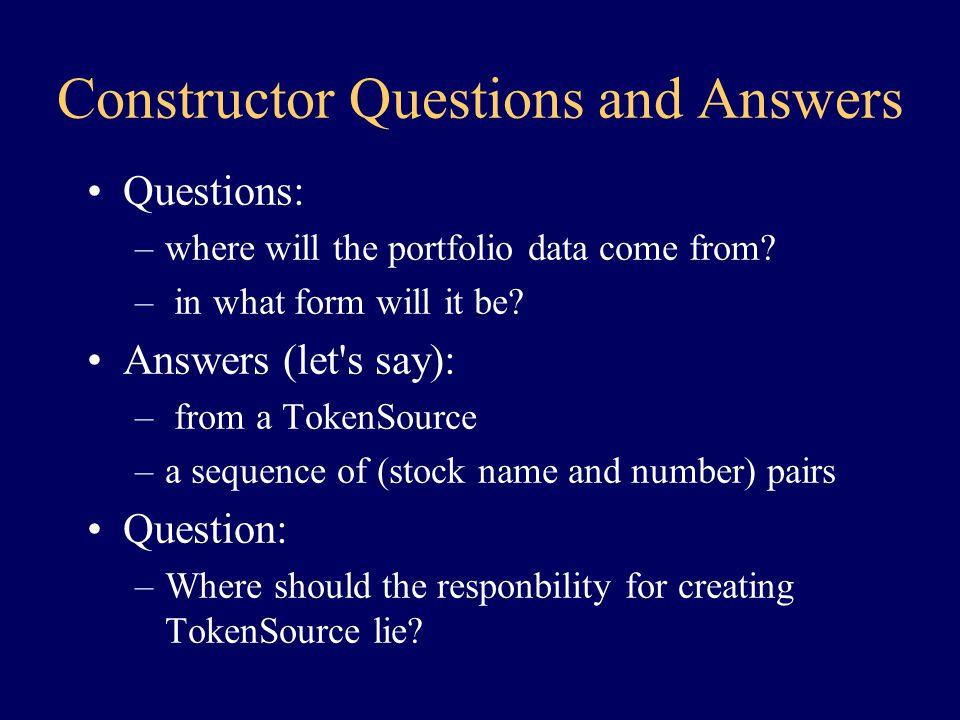 The Portfolio Constructor (1) class Portfolio { constructor() { create Collection c...