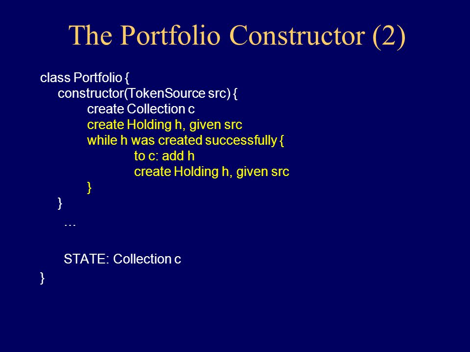 Constructor Questions and Answers Questions: –where will the portfolio data come from.
