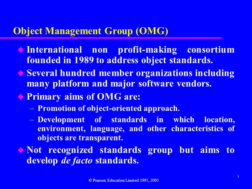 4 Object Management Architecture Four areas identified for reference model: Object Model (OM) - Design-portable abstract model for communicating with OMG-compliant object-oriented systems.