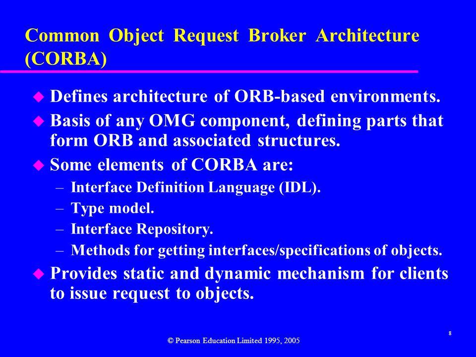 9 CORBA ORB Architecture © Pearson Education Limited 1995, 2005
