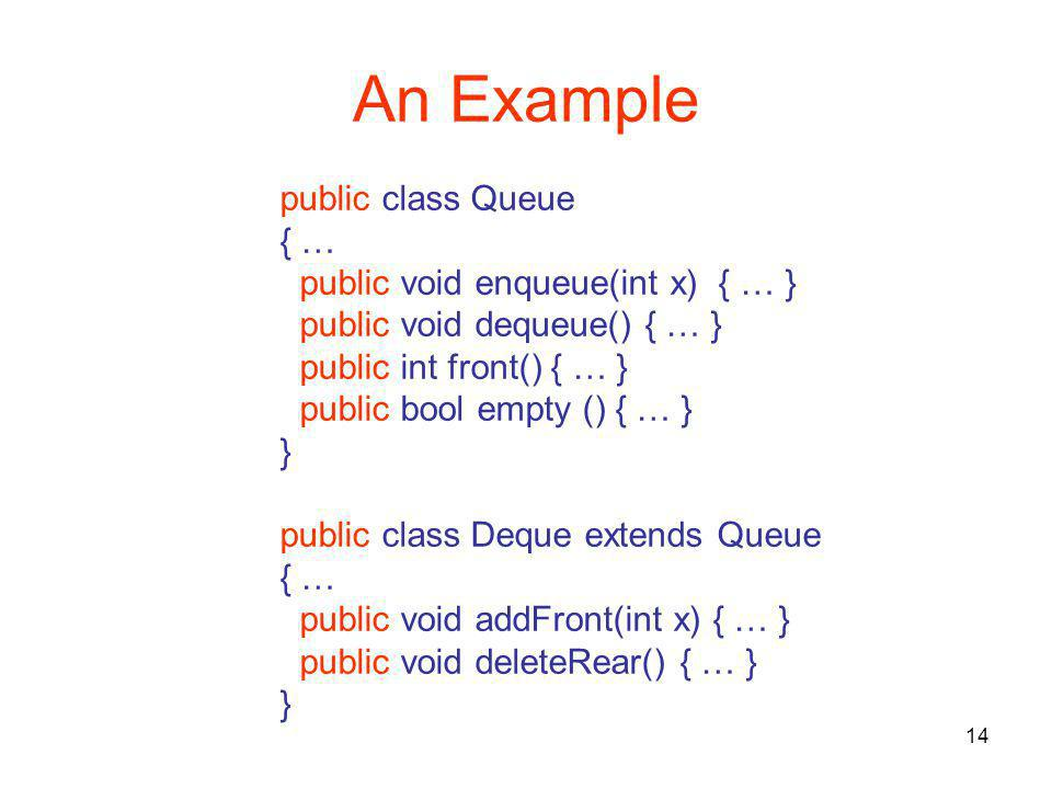 14 An Example public class Queue { … public void enqueue(int x) { … } public void dequeue() { … } public int front() { … } public bool empty () { … } } public class Deque extends Queue { … public void addFront(int x) { … } public void deleteRear() { … } }