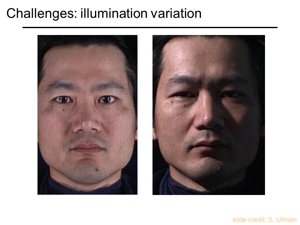 slide credit: S. Ullman Challenges: illumination variation