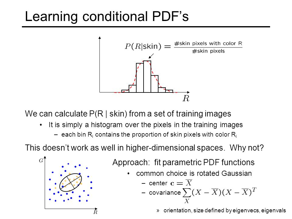 Learning conditional PDF's We can calculate P(R | skin) from a set of training images It is simply a histogram over the pixels in the training images