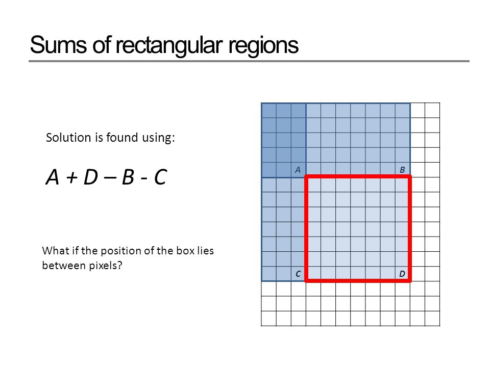 Sums of rectangular regions AB CD Solution is found using: A + D – B - C What if the position of the box lies between pixels?