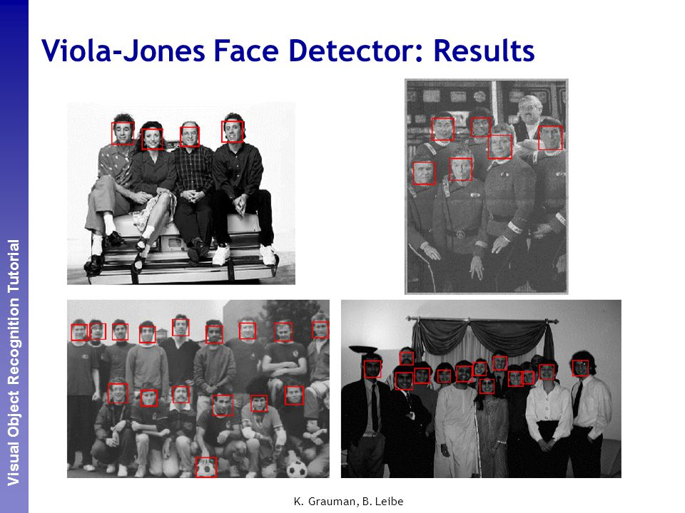 Perceptual and Sensory Augmented Computing Visual Object Recognition Tutorial K. Grauman, B. Leibe Viola-Jones Face Detector: Results