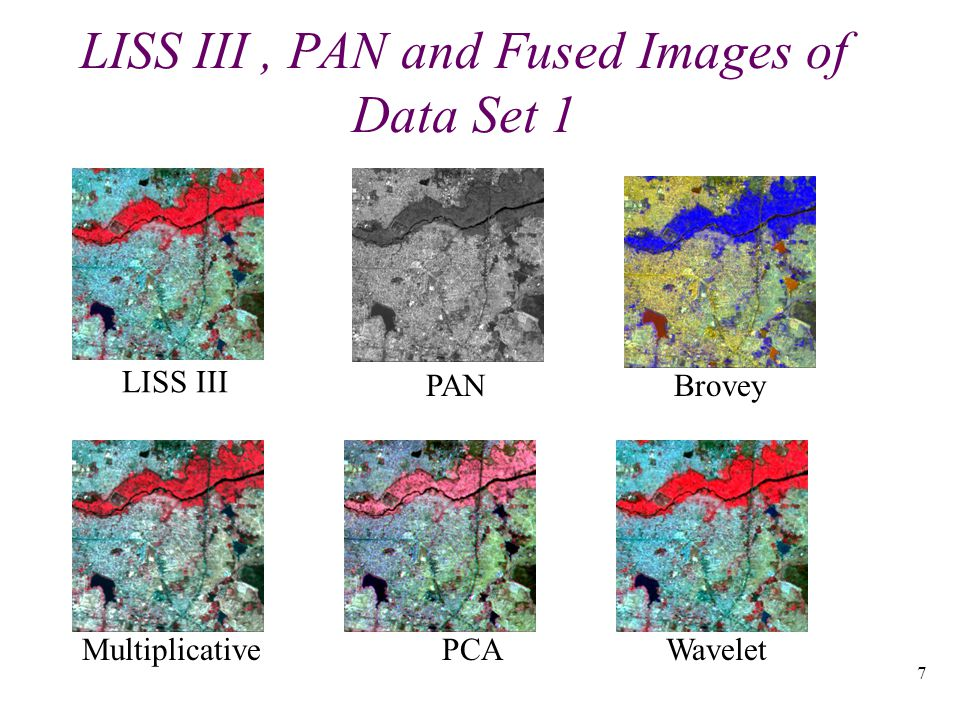 7 LISS III, PAN and Fused Images of Data Set 1 LISS III PANBrovey Multiplicative PCAWavelet