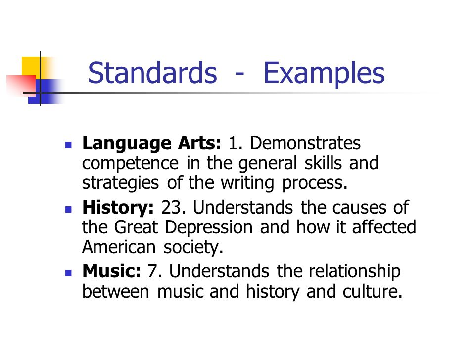 Standards - Examples Language Arts: 1. Demonstrates competence in the general skills and strategies of the writing process. History: 23. Understands t