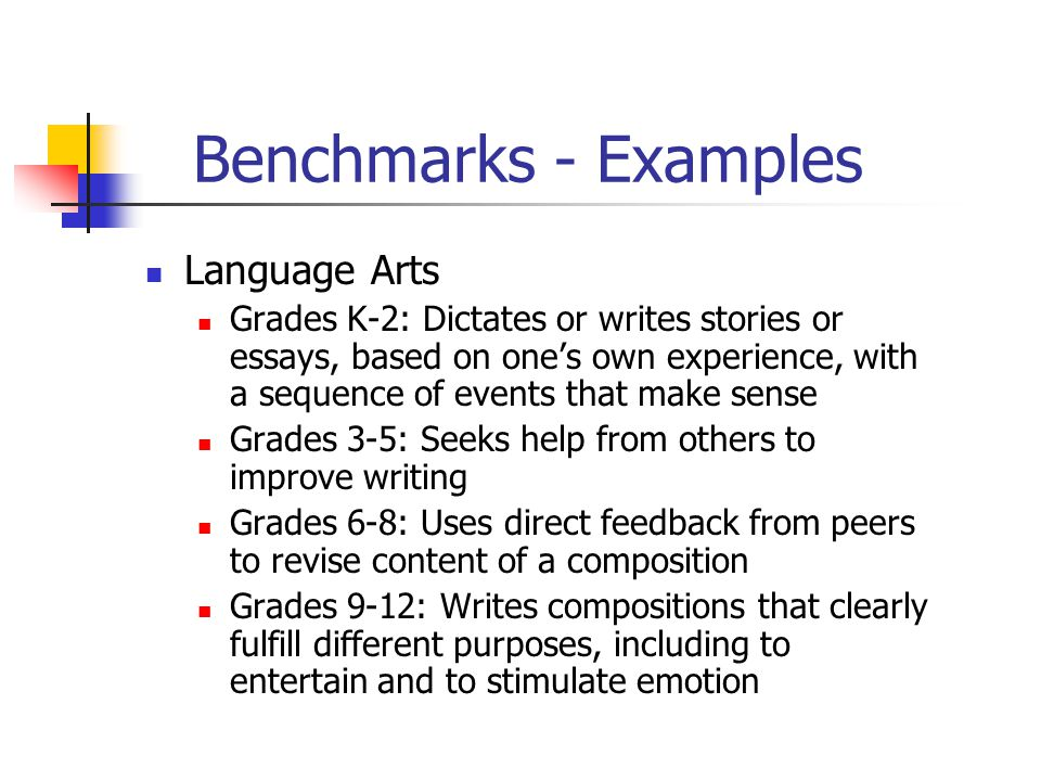 Benchmarks - Examples Language Arts Grades K-2: Dictates or writes stories or essays, based on one's own experience, with a sequence of events that make sense Grades 3-5: Seeks help from others to improve writing Grades 6-8: Uses direct feedback from peers to revise content of a composition Grades 9-12: Writes compositions that clearly fulfill different purposes, including to entertain and to stimulate emotion